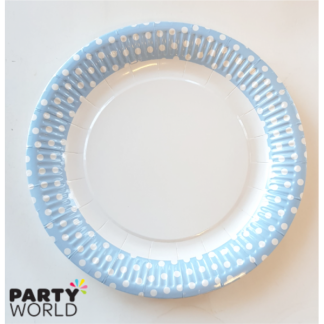 Light Blue and White Spots Paper Plates (6)