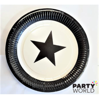 Black and White Star Paper Plates (8)