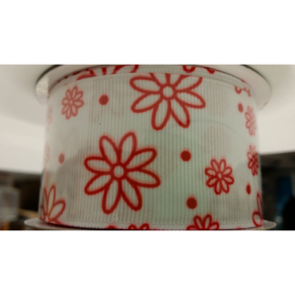 White with Red Daisy Flowers and Red Spots/Dots Grosgrain Ribbon