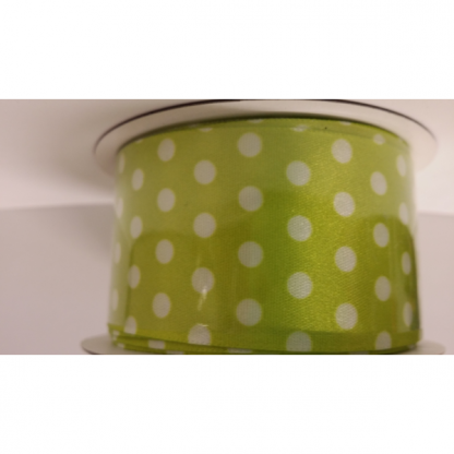 Green Ribbon with White Spots/Dots