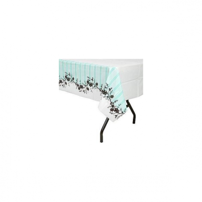 Mint Green and Black Flowers Plastic Table Cover (1)