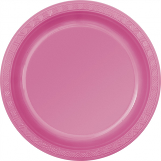 Hot Pink Plastic Round Plates 9in (6)