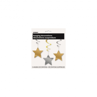 Star Whirl Hanging Decorations - Gold & Silver (3)