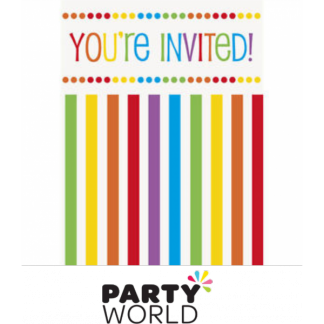 Rainbow Striped Invitations - You're Invited (8)
