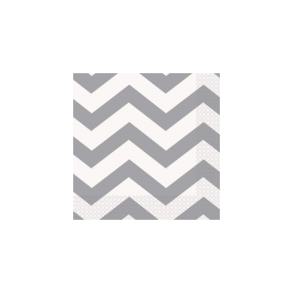 Chevron Luncheon Napkins (16) - SILVER
