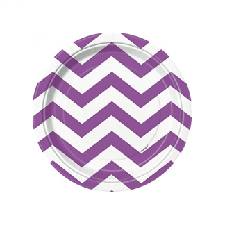 Chevron Paper Plates 7in - PRETTY PURPLE (8)