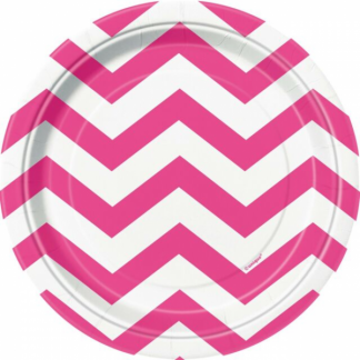 Chevron Paper Plates (8SML) - HOT PINK