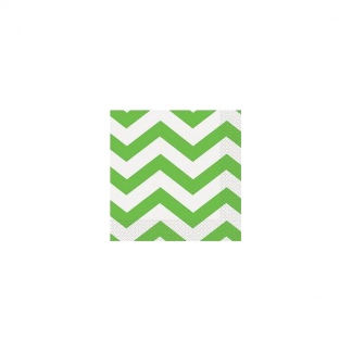 Chevron Beverage Napkins (16) - LIME GREEN