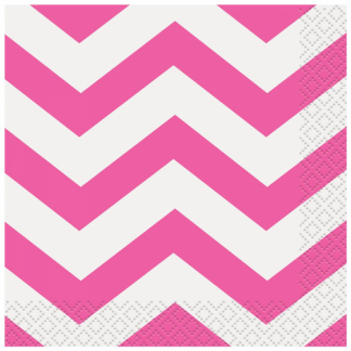 Chevron Beverage Napkins (16) - HOT PINK
