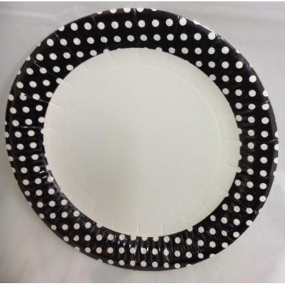 Black and White Spots Paper Plates 9in (6)