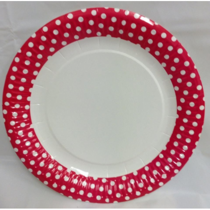 Hot Pink and White Spots Paper Plates (6)