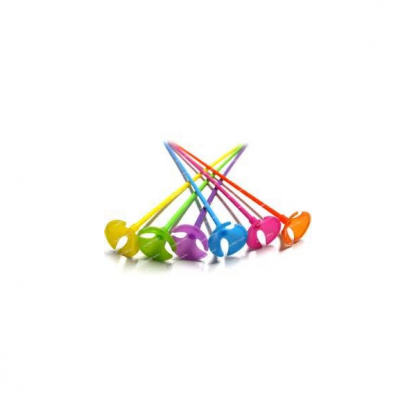 Coloured Balloon Sticks with Cups (6)