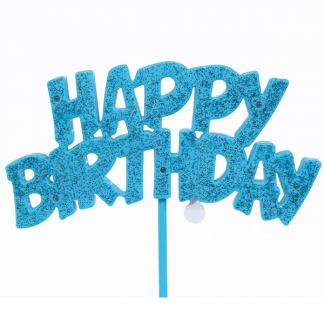 Happy Birthday Flashing Cake Decoration - Blue