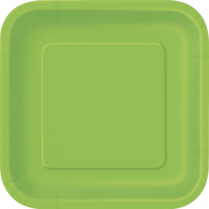 Lime Green 7inch Square Paper Plate (16)