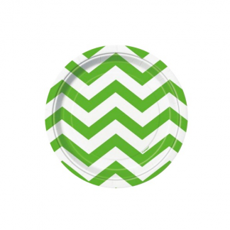 Chevron Paper Plates (8SML) - LIME GREEN