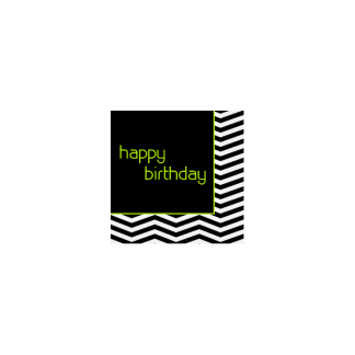 Black and White Chevron Happy Birthday Luncheon Napkins (16)