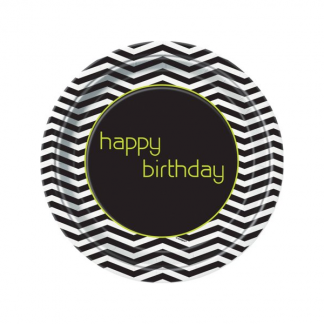 "Black and White Chevron Happy Birthday Plates 9"" (8)"