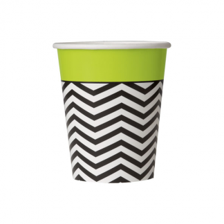 Black and White Chevron Paper Cups (8)