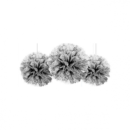 Black and White Damask Fluffy Decorations (3)