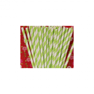 Paper Striped Straws (25) - Light Green