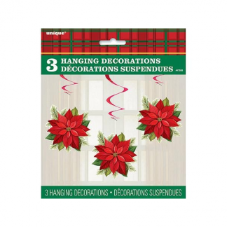 Christmas Poinsettia Flower Spiral Hanging Decorations (3)