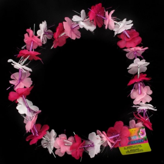 Pink and White Flower Lei With Pink Tinsel