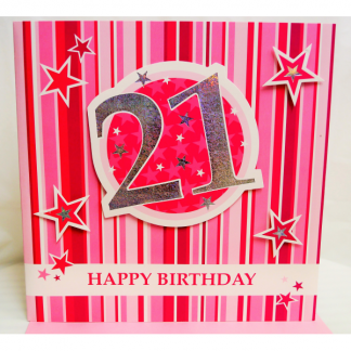 'Handcrafted' 21st Birthday Card - Pink