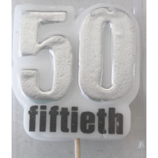 50th Birthday Silver Candle