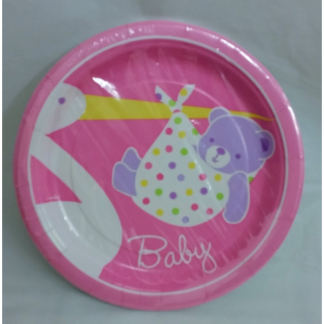 "Baby Girl Stork Pink Plates 7"" (8)"