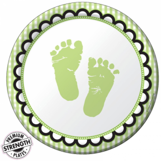 Sweet Baby Feet - Green Paper Plates (8)
