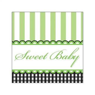 Sweet Baby Feet - Green Beverage Napkins (16)