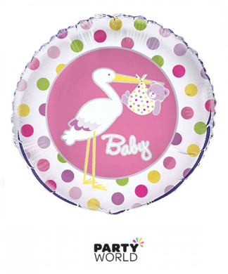 baby stork foil balloon pink