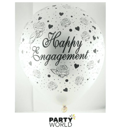happy engagement latex balloons pearl white