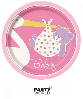 pink stork baby shower plates