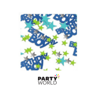 Birthday Boy Holographic Star Confetti - Blue, Green, Silver