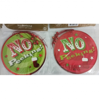 Christmas Large Gift Tags 'No Peeking' (6)