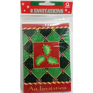 Christmas Holly/Mistletoe Invitations (8)