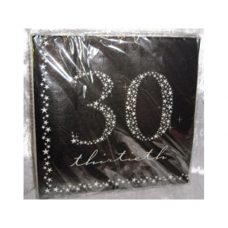 30th Black and Silver Luncheon Napkins (20)