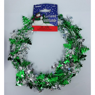 Snowflake and Tree Christmas Garland - Green/Silver