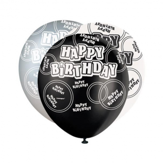 Glitz Happy Birthday Black, Silver and White Balloons (6)