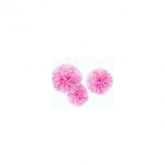 Pink and White Damask Fluffy Decorations (3)