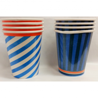 Blue Striped 'Cool Cups' Paper Cups (8)