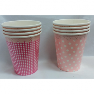Talking Tables Pink Vintage Dots and Gingham Cups (8)