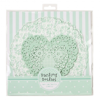 Talking Tables Darling Doilies - Pastel Green/White Hearts and Circles