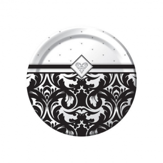Damask Heart Ever After Plates Black & White 7in (8)