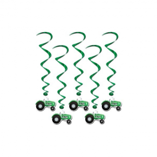 Tractor Whirls Hanging Decorations (Pack of 5)