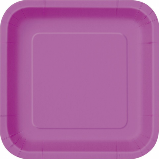 Pretty Purple Paper Square Plate 9in (14)