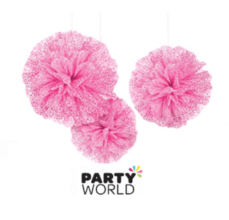 pink damask puff balls fluffy decorations