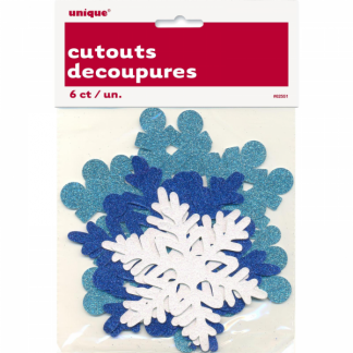 Snowflake Cutouts - Blue Glitter Assorted (6)