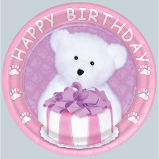 Happy Birthday Girl Bear Plates - 7in (8)